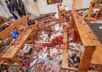 ATTENTION EDITORS - VISUAL COVERAGE OF SCENES OF INJURY OR DEATH Blood stains are seen inside a church after a bomb blast in Negombo, Sri Lanka April 21, 2019. REUTERS/Stringer   NO ARCHIVES. NO RESALES. TEMPLATE OUT.